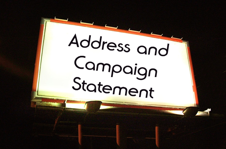 Address and campaign statement billboard