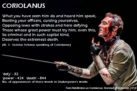 Coriolanus [III, 3] Sicinius Velutus: What you have seen him do and heard him speak, Beating your officers, cursing yourselves, Opposing laws with strokes and here defying Those whose great power must try him; even this, So criminal and in such capital kind, Deserves the extremest death.